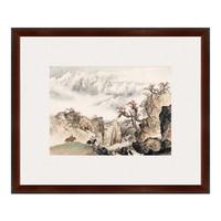 国画水墨画《祁连山麓》关山月 背景墙装饰画挂画 咖啡红 56×67cm