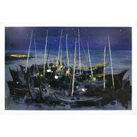 艺术品:吴冠中亲笔签名版画《海之夜》 限量500版 收藏证书艺术品
