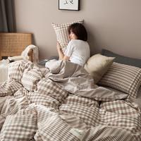 紫罗兰纯棉水洗棉四件套北欧风学生宿舍床品全棉床单被套三件套
