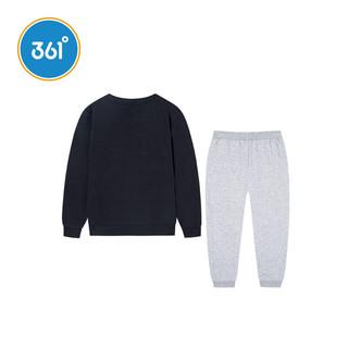 361° 男童针织长袖套装 N51923473 碳黑/浅瓦花灰 170cm