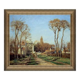 风景油画《进入村庄》毕沙罗 背景墙装饰画挂画 典雅栗 63×54cm