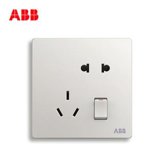 ABB 轩致系列 AF225 86型一开五孔插座 雅典白