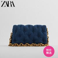 ZARA新款女包蓝色大容量牛仔链条超火百搭单肩斜挎包 16365610017