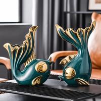 Hoatai Ceramic 华达泰 亲嘴鱼客厅装饰摆件 墨绿色
