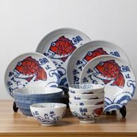 MinoYaki 美浓烧 日式碗碟套装 鲷鱼10头套装 *3件