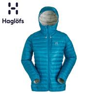 Haglofs火柴棍女款户外轻量连帽保暖舒适羽绒服602329 欧版(M、天堂蓝/白色2GT)