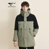 七匹狼羽绒服男士2020冬季连帽中长款时尚休闲撞色拼接厚羽绒外套 *2件