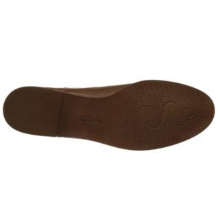 Clarks 其乐 Taylor Shine/泰勒丝因系列女士皮革方跟套脚短靴261119654 Braun Tan Leatherther38.5