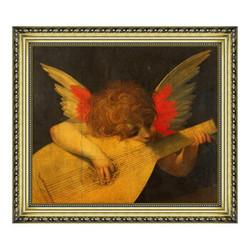 卢索油画《手持乐器的天使》背景墙装饰画挂画 宫廷金 56×49cm