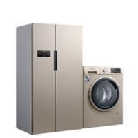 SIEMENS 西门子 冰洗套装 KA61EA03TI变频对开冰箱 608L 金色  +WG42A2Z31W洗衣机 9kg 浅金色