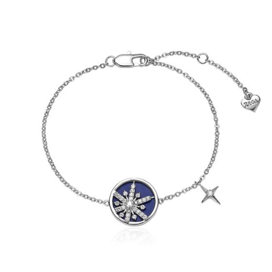 ZENGLIU 圣诞系列 ZS15339 女士星空飘雪镀白金手链 18.5cm