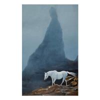 自龙签名版画《空山幽禅》 装饰画挂画 画芯尺寸 40×65cm