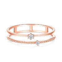 SoinLove 小确幸系列 VU1150 女士小圆珠18K玫瑰金钻石戒指