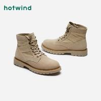 热风男鞋2020年冬季新款工装靴加绒雪地靴潮男军靴马丁靴H95M0835