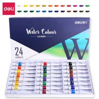 得力(deli)73852 美术绘画24色水彩颜料 盒装 *3件