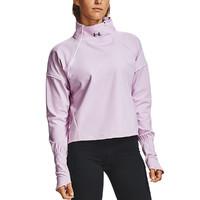 UA安德玛女士运动休闲速干保暖半拉链纯色短款套头卫衣