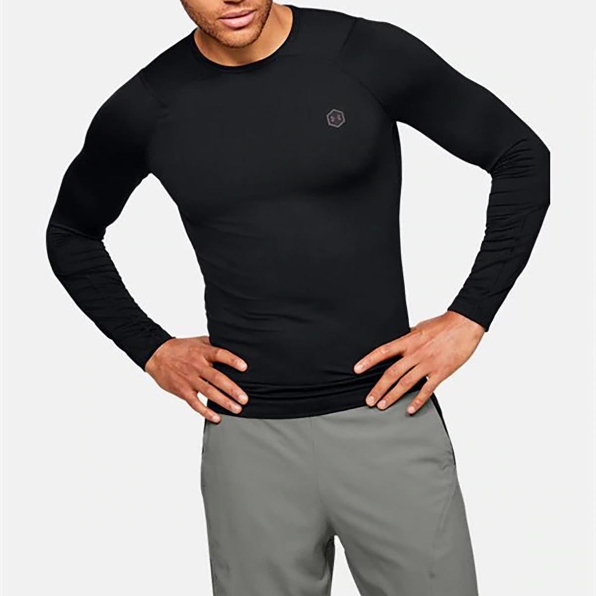 安德玛UA 男运动长袖T恤修身防异味排汗