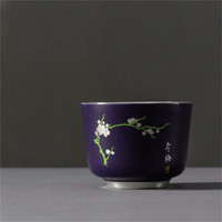 陶瓷茶杯内镶银功夫茶杯大容量主人杯 蓝釉冬梅