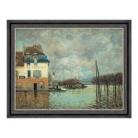 风景油画《马利港的洪水》西斯莱 沙发背景墙装饰画挂画 56×71cm