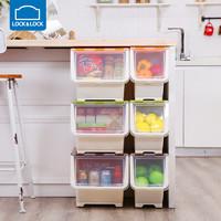 乐扣乐扣 叠式储物箱收纳箱整理箱塑料零食玩具大小号 INP984\5\6(中号、橙色)