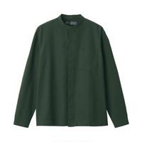 无印良品 MUJI 男式 新疆棉 水洗牛津 立领衬衫 深绿色 S *3件