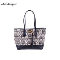 菲拉格慕(Salvatore Ferragamo)女士STUDIO牛皮革/织物购物袋0720393(20FW秋冬)
