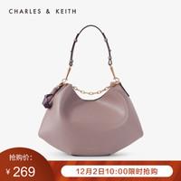 CHARLES&KEITH2020秋冬CK2-40671077女士简约大容量手提单肩包 Mauve紫红色 L