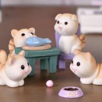 纳拾逅 调皮小猫宠物卡通微景观摆件7件套 (小猫3只+椅子+猫碗+鱼+盘)