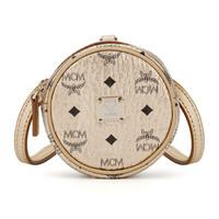MCM 奢侈品 女士Visetos系列金色人造革单肩斜挎铃鼓包 MXZASVI03T1001