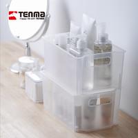 Tenma天马株式会社桌面收纳盒家用厨房浴室可叠加磨砂白储物盒(单个装(长24*宽16*高11cm))