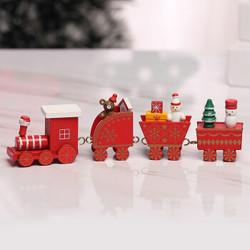 靓趣 圣诞节装饰品木质小火车 红色 四节