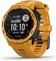 Garmin Instinct 坚固型户外手表,具有GPS功能,具有Glonass和Galileo,心率监测和3轴罗盘,火焰红,1.27 inches