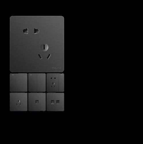 DELIXI 德力西 开关插座821黑色空调三孔家用多孔USB五孔插座86型暗装面板