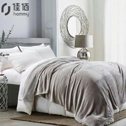 佳佰 双层羊毛毯 灰印花 200*230cm