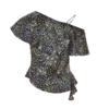 URBAN REVIVO 女士碎花吊带斜肩衬衫WG30S2CE2000 深黑灰色印花M