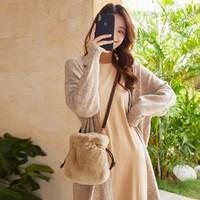 森马 | 时尚纯色豹纹女抽绳包式斜挎包单肩包手提包包女包