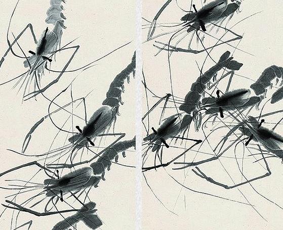 水墨画齐白石《虾趣图》装饰画挂画卧沙发背景墙壁画 茶褐色 64×129cm