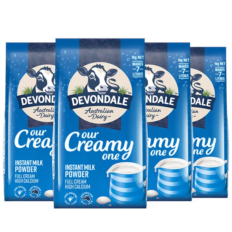 12.12预售 : Devondale 德运 全脂高钙成人奶粉 1kg*4袋