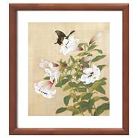 《花鸟册之4》余樨 水墨画国画框画现代装饰画 茶褐色 58×55cm