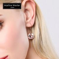 玛汀薇思耳环女时尚生日情人节礼物施华洛方枕古典玫瑰色亮钻方形水晶耳饰耳坠套组礼盒