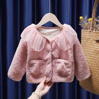 瑄妮薇 女童羊羔绒娃娃领外套
