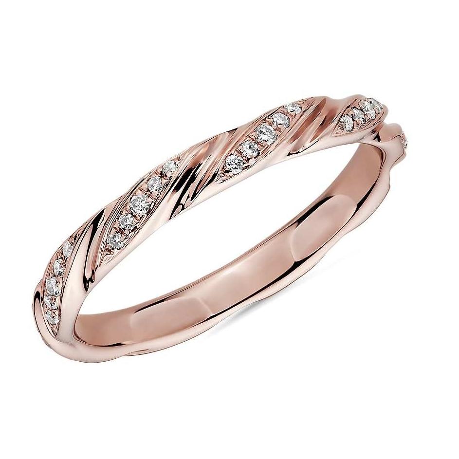 真心好礼 : Blue Nile 玫瑰金 涡状钻石对戒指