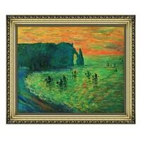 莫奈名人油画《埃特雷塔的礁石》空间装饰画 宫廷金 79×66cm