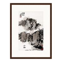 朱屺瞻 《沧江风帆》古典国画水墨画 装饰画挂画 茶褐色 74×99cm