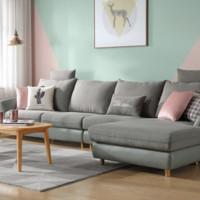10日0点:林氏木业 RAJ1K 北欧实木框布艺沙发 左三人+右贵妃