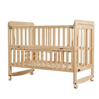 babycare婴儿床 宝宝床实木儿童床拼接床 多功能新生儿摇篮床bb床 8910蒙柯床