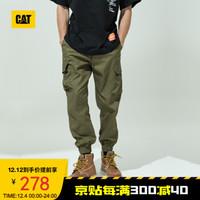 CAT/卡特工装裤男2020年新款弹力腰头拉链装饰收脚工装裤男CJ1WPPD2021 绿色 L *2件