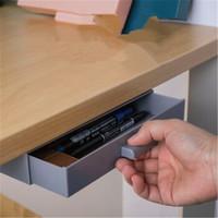 SCNDEWMY 隐藏桌底抽屉式收纳盒 免打孔 2个装