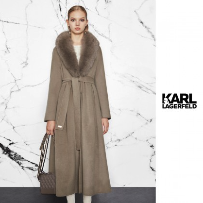 KARL LAGERFELD 卡尔·拉格斐 狐狸毛领羊毛女式大衣