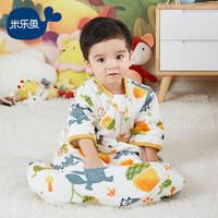 米乐鱼 婴儿睡袋儿童宝宝抱被加厚防踢被可拆袖睡袋一体款 厚夹棉松果雨90*56cm *2件